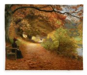A Wooded Path In Autumn Fleece Blanket