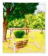 A Wooden Swing Under The Tree Fleece Blanket