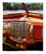A Woodie At The Beach Fleece Blanket