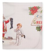 A Xmas Greetings With Santa And Child Vintage Card Fleece Blanket