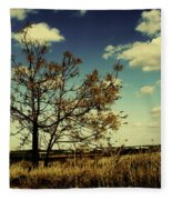 A Yellow Tree In A Middle Of A Dry Field - Wide Angle Fleece Blanket