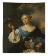 A Young Woman With A Parrot, Ary De Vois, 1660 - 1680 Fleece Blanket