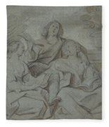 A Youth And Two Girls Singing , Jacob Jordaens Fleece Blanket