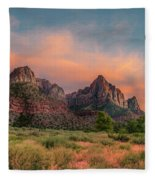 A Zion Sunset Fleece Blanket