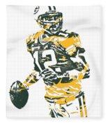 Aaron Rodgers Green Bay Packers Pixel Art 15 Fleece Blanket
