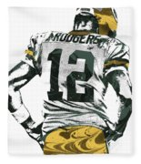 Aaron Rodgers Green Bay Packers Pixel Art 6 Fleece Blanket