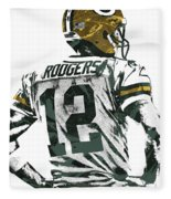 Aaron Rodgers Green Bay Packers Pixel Art 5 Fleece Blanket