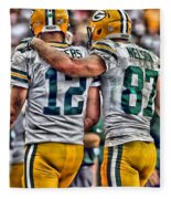 Aaron Rodgers Jordy Nelson Green Bay Packers Art Fleece Blanket