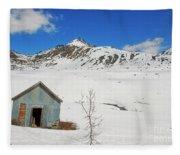Abandon Building Alaskan Mountains Fleece Blanket