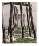 Abandon Pier Thru The Fog Fleece Blanket