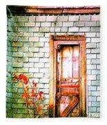 Abandonded Farm Door Fleece Blanket