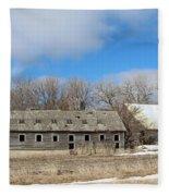 Abandoned Barn And Shed Fleece Blanket