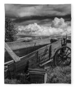 Abandoned Broken Down Frontier Wagon In Black And White Fleece Blanket