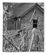 Abandoned Farmhouse Through Cornfield Fleece Blanket