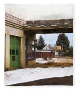 Abandoned Service Station Painterly Impressions Fleece Blanket