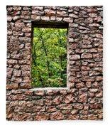 Abandoned Stone Wall With Window Fleece Blanket
