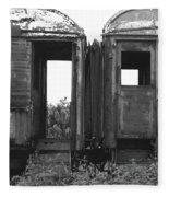 Abandoned Train Cars B Fleece Blanket