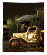 Abandoned Truck And School Bus In Ghost Town Fleece Blanket