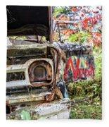 Abandoned Truck With Spray Paint Fleece Blanket