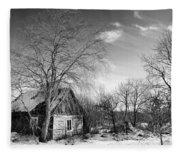 Abandoned Wooden Shack In Winter Fleece Blanket