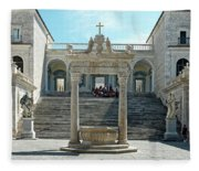 Abbey Of Montecassino Courtyard Fleece Blanket