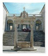 Abbey Of Montecassino Courtyard Fleece Blanket