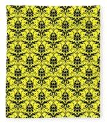 Abby Damask In Black Pattern 05-p0113 Fleece Blanket