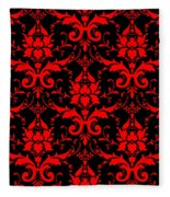 Abby Damask With A Black Background 02-p0113 Fleece Blanket