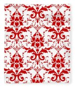 Abby Damask With A White Background 02-p0113 Fleece Blanket