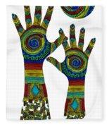 Aboriginal Hands Gold Transparent Background Fleece Blanket