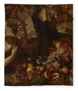 Abraham Brueghel After, Girl With Grapes And Still Life With Fruit. Fleece Blanket