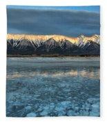 Abraham Lake Ice Bubble Sunset Fleece Blanket