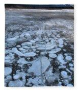 Abraham Lake Ice Bubbles Fleece Blanket
