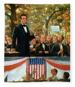 Abraham Lincoln And Stephen A Douglas Debating At Charleston Fleece Blanket