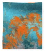 Abstract 104 Digital Oil Painting On Canvas Full Of Texture And Brig Fleece Blanket