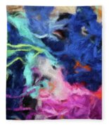 Abstract 130 Digital Oil Painting On Canvas Full Of Texture And Brig Fleece Blanket