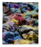 Abstract 133 Digital Oil Painting On Canvas Full Of Texture And Brig Fleece Blanket