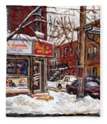 Rue De Pointe St Charles En Hiver Scenes De Rue De Montreal Peinture Originale A Vendre Paul Patates Fleece Blanket