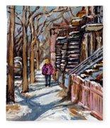 Scenes De Ville De Montreal En Hiver Original Quebec Art For Sale Montreal Street Scene Fleece Blanket