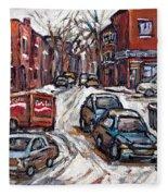 Ville Emard En Peinture Scenes De Ville De Montreal En Hiver Petit Format A Vendre Fleece Blanket