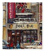 Rue Peel Montreal En Hiver Parie De Hockey De Rue Peel Pub Fleece Blanket