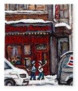 Dunn's Famous Deli Downtown Montreal Scenes De Rue Montreal Centre Ville En Hiver Joueur De Hockey Fleece Blanket