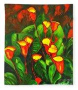 Abstract Arum Lilies Fleece Blanket