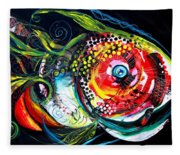 Abstract Baboon Fish Fleece Blanket
