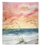 Abstract Beach Painting Fleece Blanket