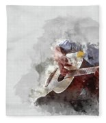 Abstract Beautiful Playing Guitar In The Foreground On Watercolor Painting Background. Fleece Blanket