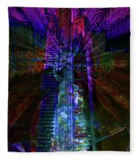 Abstract City In Purple Fleece Blanket