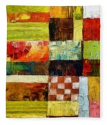Abstract Color Study With Checkerboard And Stripes Fleece Blanket