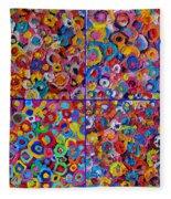 Abstract Colorful Flowers 4 Fleece Blanket