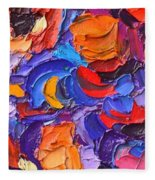 Abstract Colorful Flowers Impasto Palette Knife Modern Impressionist Oil Painting Ana Maria Edulescu Fleece Blanket